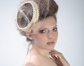 vintage 50s Wedding FASCINATOR Hat | Cream STRAW + BIRDCAGE Veil Races Derby Wedding Veil Fascinator | Tiny Velvet Bows