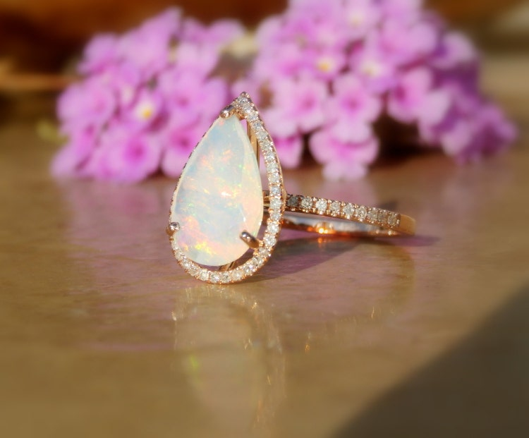 Opal Engagement Ring Opal And Diamond Ring Welo Opal By