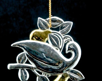 Dansk Partridge in a Pear Tree Silverplate Christmas Ornament in Box