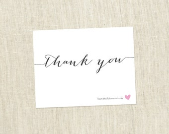 Bridal Shower Thank You, Small Heart Shower, Simple Modern Bridal Shower Thank You Card - Customizable  - PRINTABLE / DIY