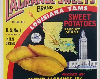 Lagrange Sweets Louisiana Yams Sweet Potatoes Vintage Crate Label Opelousas, Louisiana