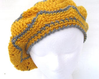 yellow crochet hat , tam , yellow slouchy , beret , crochet tam , chevron  hat