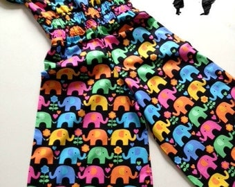 REDUCED Bright elephant cotton girls jumpsuit 2T