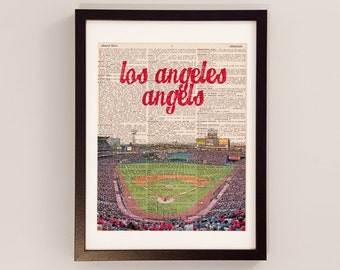 Los Angeles Angels Dictionary Art Print - Angel Stadium of Anaheim - Print on Vintage Dictionary Paper - Baseball Art - Gift For Him