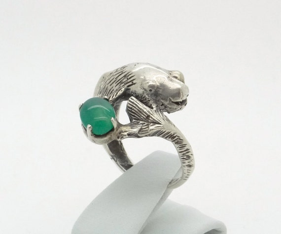 Antique koi fish sterling silver ring chrysoprase for Koi fish ring