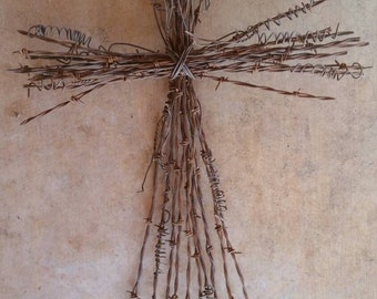 Rustic Barbed Wire Cross - Large