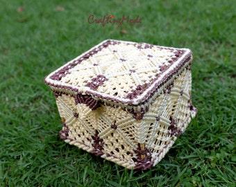 Macrame,Box,Storage,Handmade,Basket,Natural,Ivory and Brown colors ,Decorative,Gift