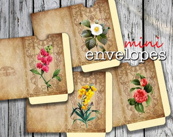 FLOWERs - Printable 4 Mini Envelopes Journal pockets Download Digital Collage Sheet  - Print and Cut