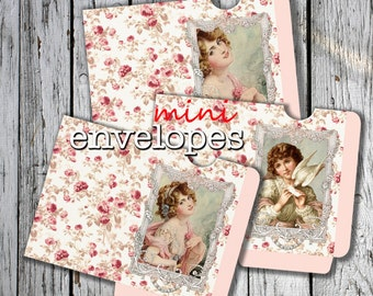 LADY LOVE  -  Printable 3 Mini Envelopes Journal pocket Download Digital Collage Sheet  - Print and Cut