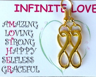 Gold Pierced Earrings, Gold Infinity Earrings,  Mother's Day Gift, Mothers Day Quote, Gift for Her, Gift of Infinite Love,Quote Card for Mom