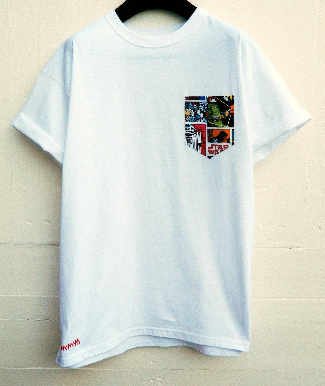 Men 39 s star wars pattern white pocket t shirt men 39 s for Pocket tee shirts for womens