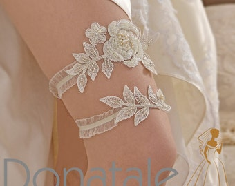 ROSALINE  - Bridal Garter Set Wedding Garter  Flower Garter  Lace Garter Lace Wedding Garter Wedding Accessories Vintage Whimsical UK