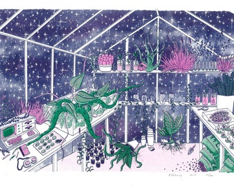 Valley Forge Memorial Greenhouse risograph art print A3