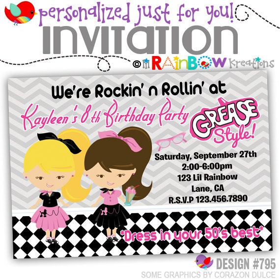 795 diy 1950s grease style party invitation or thank like this item stopboris Choice Image