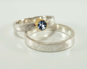 Wedding Rings SET - silver, gold and sapphire, wedding rings, yellow gold, blue sapphire - handmade by SILVERLOUNGE