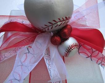 Baseball, lighted glass block, night light, boy's room, decoration, baseball fan, sports