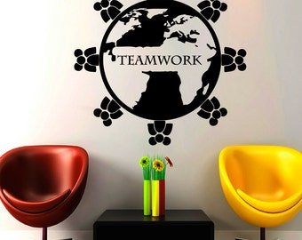 Teamwork Wall Decals Bissiness Decal Vinyl Sticker Teamwork Sign Art Design Home Office Window Decals Decor Bedroom Art Murals NA320
