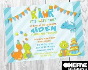 Dinosaur Theme Birthday Party Invitation - Printable (5x7)