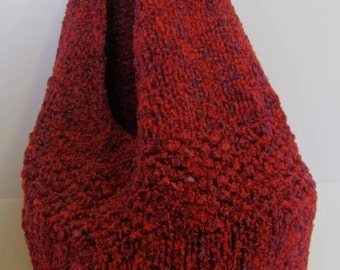 Red with purple touches hand knitted bag