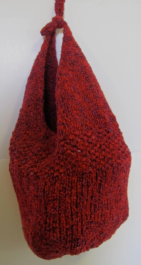 Knitted Sling Bag : Red with purple touches hand knitted bag by TwinSisCreations