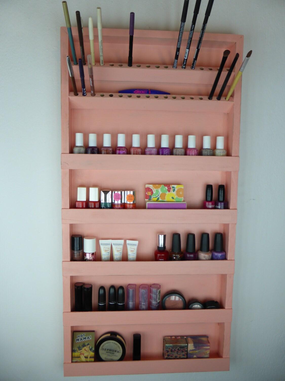 Coral Pink Nail Polish Rack Makeup Organizer Bathroom