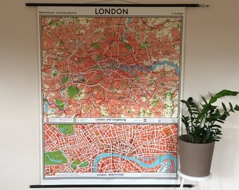 London Map- Vintage Pull Down Chart- Westermann German Educational Chart