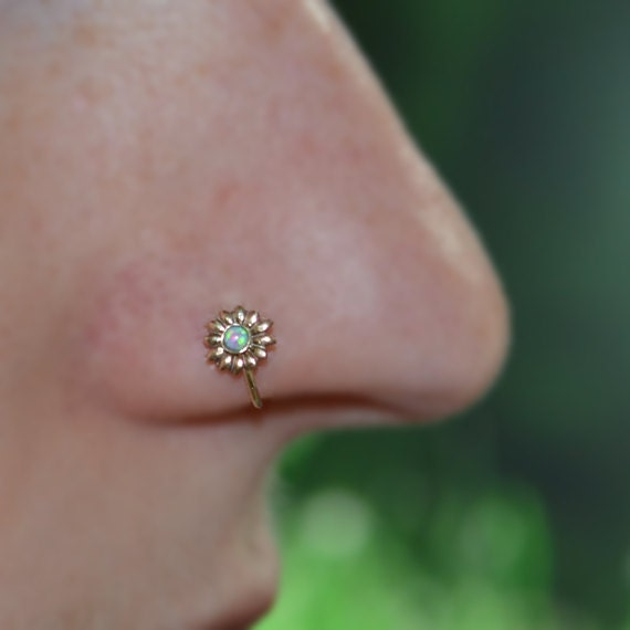 Gold 6mm Flower Nose Ring 16g - Tragus Ring Opal - Forward Helix Earring - Cartilage Earring - Rook Jewelry - Daith Jewelry - Conch Earring