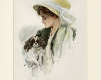 Matted Antique Fashion Print by Harrison Fisher American Beauty C. 1909 20th Century American Art 11x14""