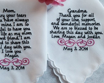Set of 2 two handkerchiefs for mom and grandma