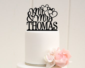 Mickey Wedding Cake Topper - Wedding Cake Topper - Cake Topper with Last Name