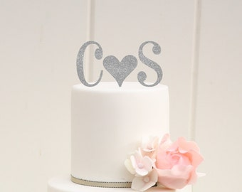 Personalized Glitter Heart Monogram Wedding Cake Topper with YOUR Initials