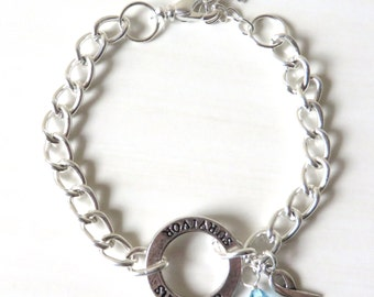 Survivor Light Blue Prostate Cancer Charm Bracelet Crystal Charm and Silver Awareness Ribbon