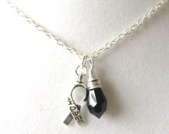 Black Melanoma Awareness Ribbon  Hope Survivor Silver Ribbon Pendant Necklace You Choose Ribbon Design