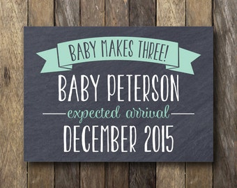 Pregnancy Announcement - 8x10 - Pregnancy Reveal - Expecting Baby Announcement - Baby Announcement Card - Printable Pregnancy Reveal