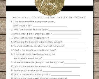 Black and White Striped/Gold Glitter Bridal Quiz Bridal Shower & Wedding Game