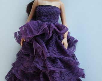 Lammily doll clothes -purple lace gown