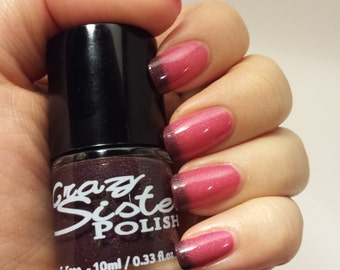 Thermal Nail polish, Retired* Pinky Promise- Maroon to Magenta Pink Heat Sensitive Thermal Holographic Glitter Nail Polish