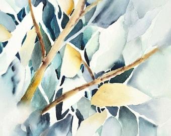 Tree Art, Tree Watercolor Painting Print,Tree Print,Tree Painting,Mint Print Art,Asian Art,Oriental Painting, Winter Painting,Blue Art,Birch