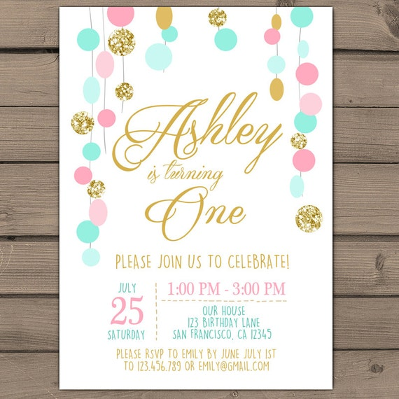 First Birthday Party In A Box In Gold Mint And Pink: Pink Mint Gold Glitter Birthday Invitation Blush Pink Gold