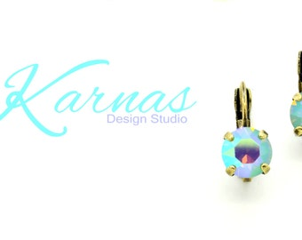 PACIFIC OPAL AB 8mm Crystal Chaton Drop Earrings Made With Swarovski Elements *Pick Your Finish *Karnas Design Studio *Free Shipping*