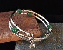 Cancer Awareness-Wrap Around Silver Tube Emerald Green Bangle with Ribbon-Color represents Liver Cancer