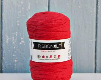 Red Ribbon XL Yarn, Cotton Yarn XL, Recycled Cotton Yarn, Knitting, Crochet, Red yarn