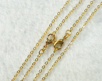 "18-24"" Gold Plated Cable Chains With Losbter Clasp -- Wholesale Bulk Sale Handmade Craft Supply Gold Plated Accessory Charm DJ"