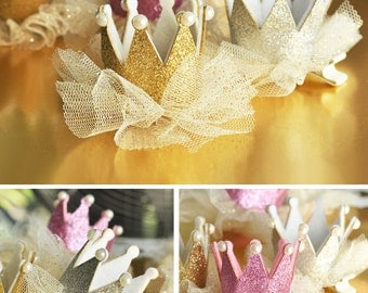 Pink and Gold Crown Headband CLIP Princess Headband CLIP Princess Princess Hat Clip Pink and Gold Birthday Crown (EB3088)