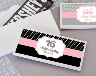 Sweet 16 Candy Bar Wrappers - Personalized Sweet 16 Candy Wrappers - Sweet Sixteen Party Favors - 16th Birthday Favors (EB4001S) set of 24|