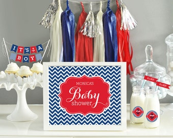 Ahoy Its a Boy Decorations Boy Baby Shower Themes Nautical Baby Shower Decorations 1st Birthday Boy Decorations (EB3058B) printed SIGN ONLY