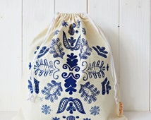 Organic Cotton Gift Bag Bread Bag Screen printed Hungarian Kalotaszeg Folk Pattern - Blue