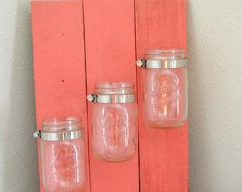 Pink Mason Jar Organizer