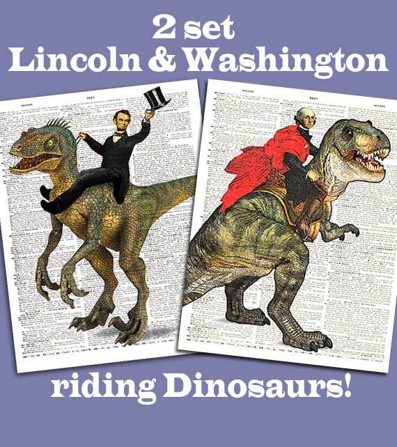 2 Set Lincoln riding a dinosaur & George Washington on T-Rex