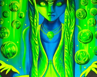 UV Painting Cosmic Elfe - handpainted on order blacklight active psychedelic neon glowing multiple sizes